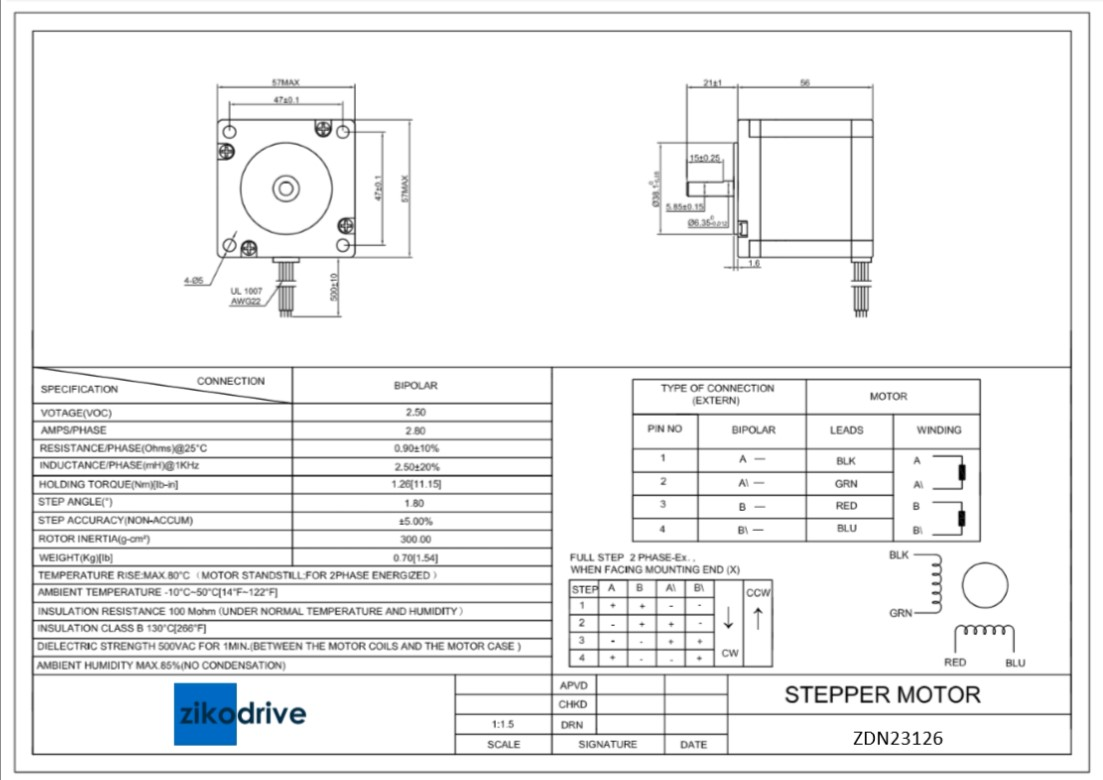 Zikodrive zdn17059 nema 17 stepper motor buy now for Nema 17 stepper motor datasheet