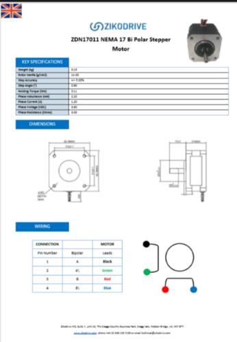 Zikodrive ZDN23126 NEMA 23 stepper motor datasheet