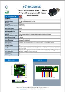 Zikodrive ZD10N23G15-30 motoriduttore a passo con scheda di controllo integrata
